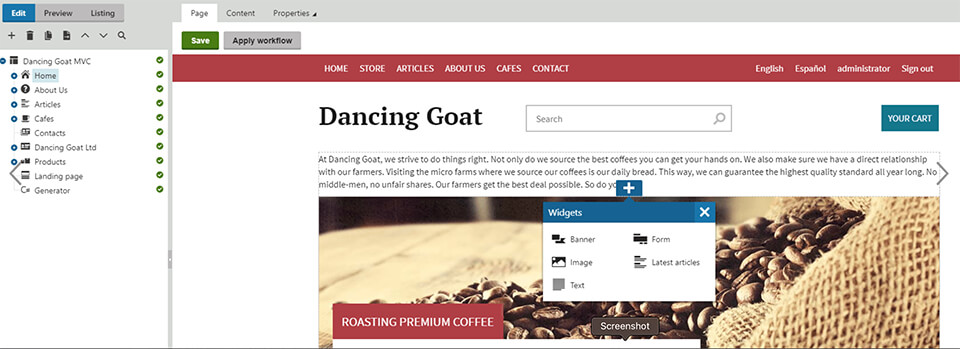 Kentico's page builder with the sample site Dancing Goat.